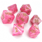 Pink & Gold Easter Polyhedral 7 Dice Set